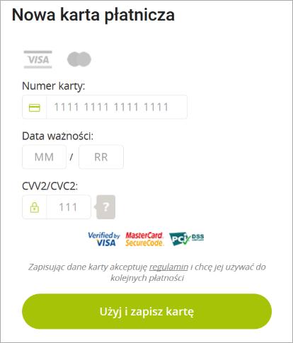 Podawanie danych z karty kredytowej / płatniczej