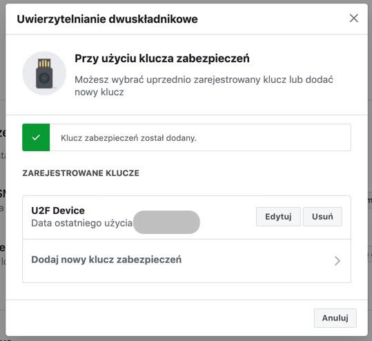 Facebook: dodawanie klucza U2F do weryfikacji dwustopniowej