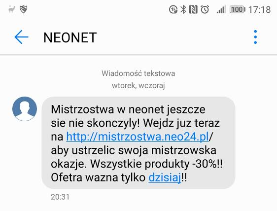 Fałszywy SMS z nieistniejącą promocją