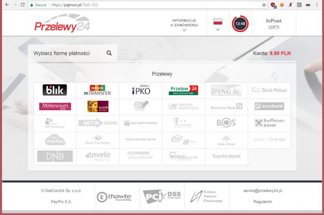 Fałszywa strona płatności Przelewy24