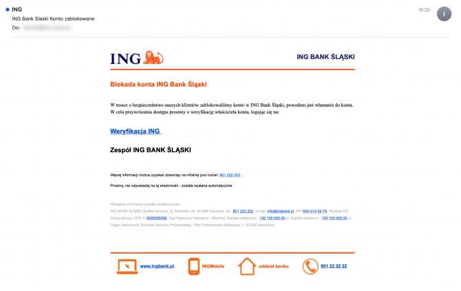 Fałszywy mail z banku (źródło: zaufanatrzeciastrona.pl)