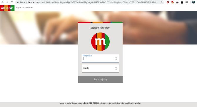 Fałszywa strona logowania do mBanku (forma płatności: mTansfer)