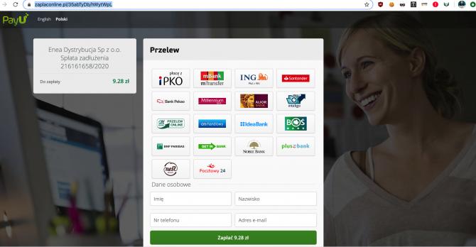 Fałszywa strona płatności PayU