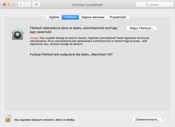 Szyfrowanie dysku z FileVault: krok 1