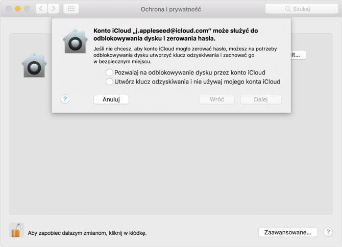 Szyfrowanie dysku z FileVault: krok 2
