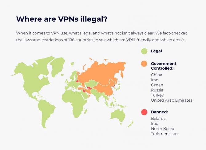 Mapa Świata i legalności VPN