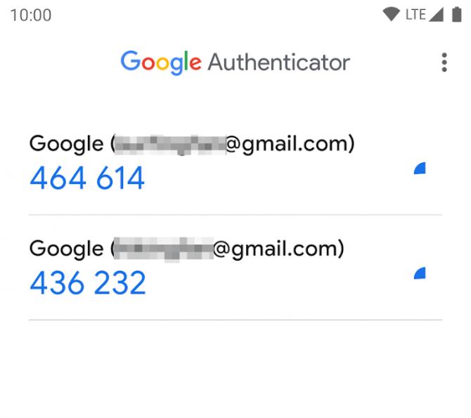Przykład czasowych kodów generowanych przez aplikację (Google Authenticator)