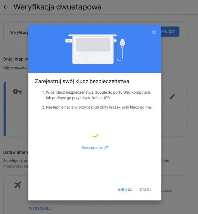 Google: zarejestruj klucz bezpieczeństwa