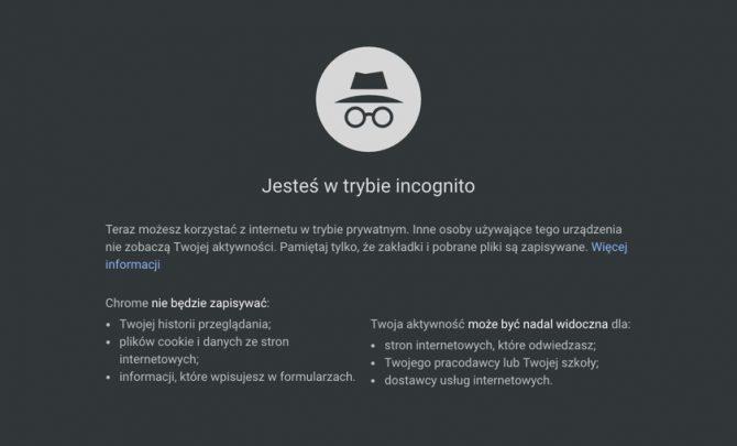 Tryb incognito w przeglądarce Chrome