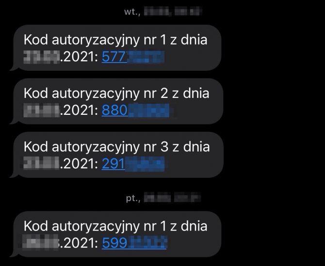 Przykład jednorazowych kodów wysyłanych przez SMS (Profil Zaufany ePUAP)