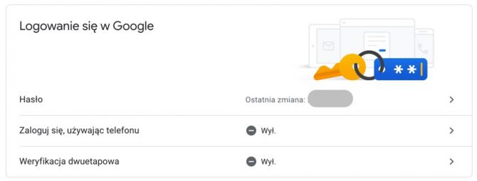 Logowanie w Google -> Weryfikacja dwuetapowa