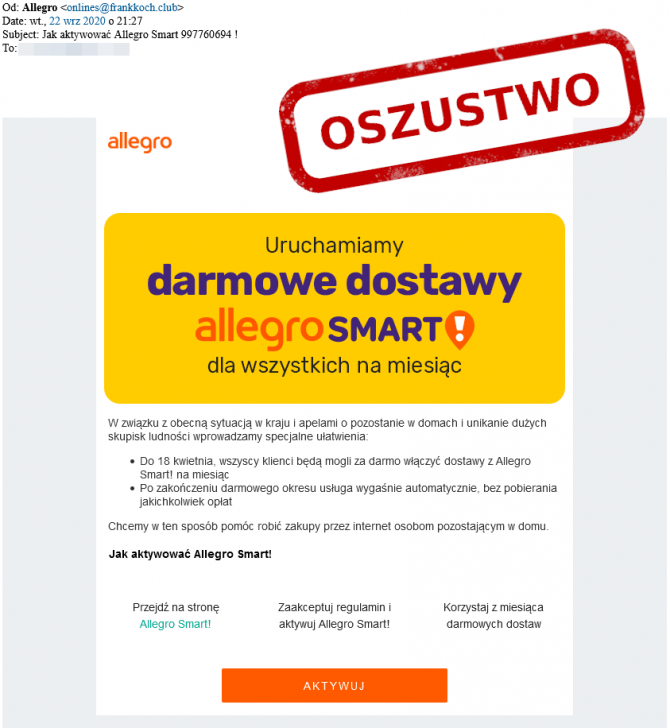 E-mail phishingowy od Allegro