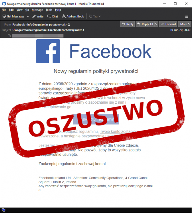 E-mail phishingowy od Facebooka
