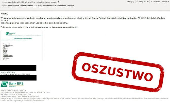 E-mail phishingowy z potwierdzeniem płatności faktury