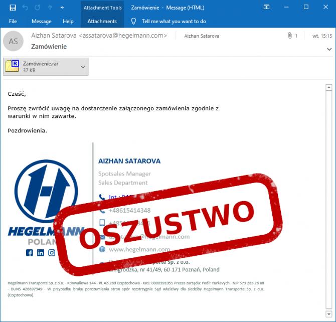 E-mail phishingowy z zamówieniem