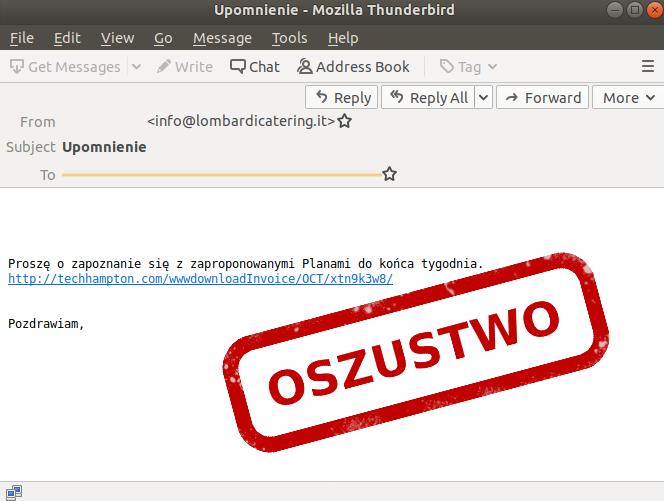 E-mail phishingowy z upomnieniem