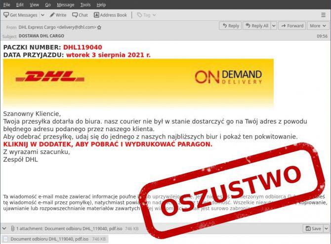 E-mail phishingowy od DHL