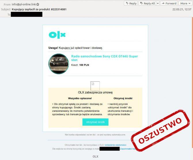 E-mail phishingowy od OLX