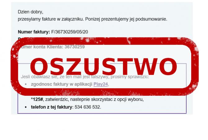 E-mail phishingowy od Play