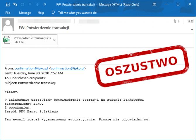 E-mail phishingowy z potwierdzeniem transakcji