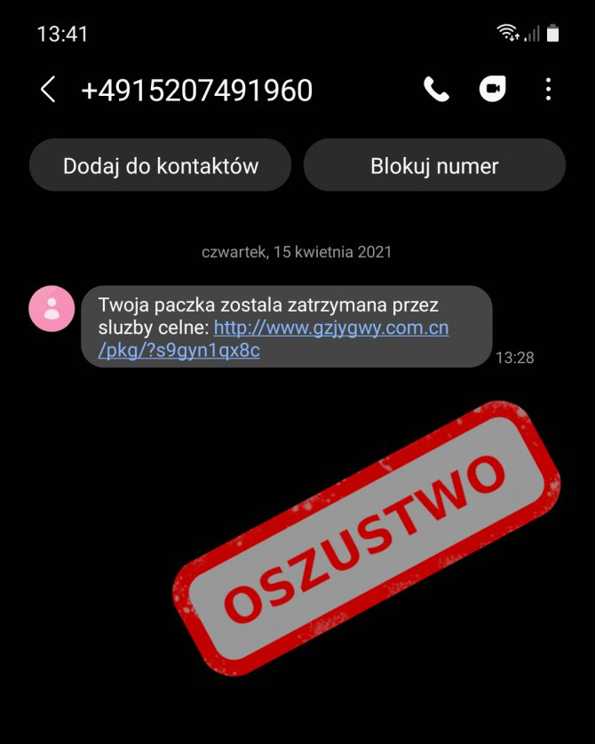 SMS phishingowy od Urzedu Celnego