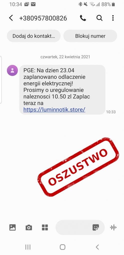 SMS phishingowy od PGE