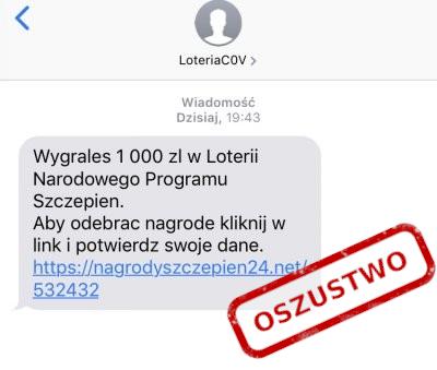 SMS phishingowy z loterią
