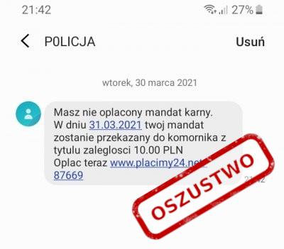 SMS phishingowy od Policji z mandatem