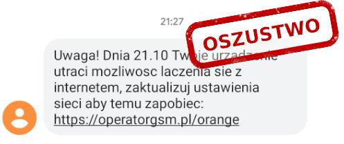 SMS phishingowy od Orange