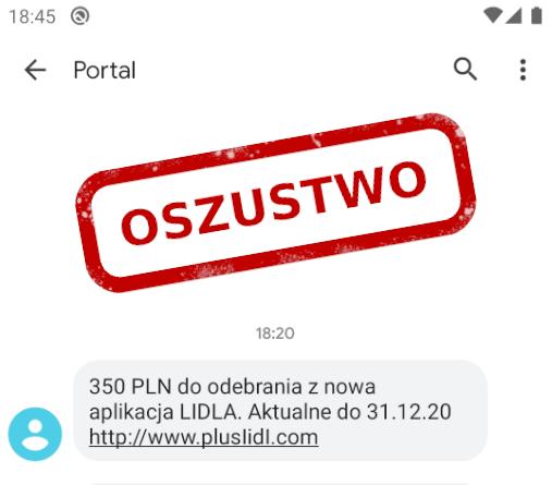 SMS phishingowy od Lidla