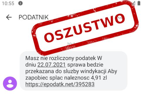 SMS phishingowy od Urzędu Skarbowego