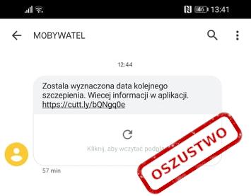 SMS phishingowy od mObywatel