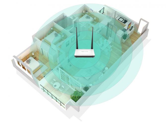 Router WiFi w centralnej cześci mieszkania