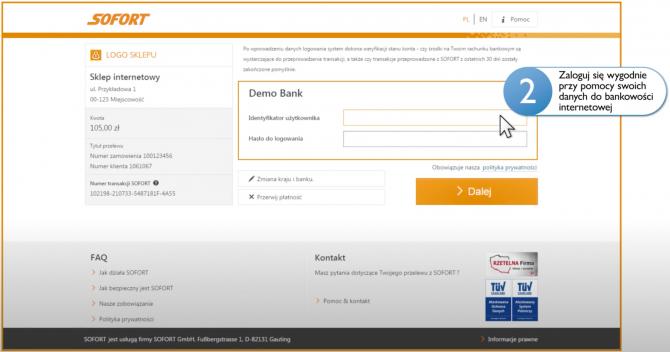 Podawanie danych logowania na stronie płatności Sofort - kadr z filmu promocyjnego