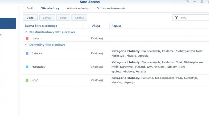 Safe Access (kontrola rodzicielska) na routerach Synology