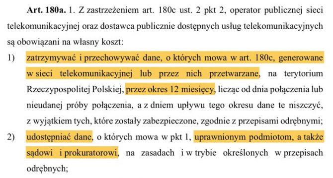 Ustawa: Prawo telekomunikacyjne, art. 180a