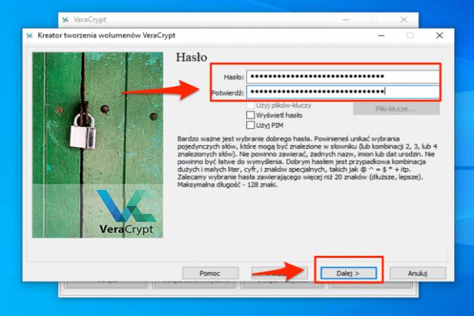 Szyfrowanie dysku z VeraCrypt: krok 10
