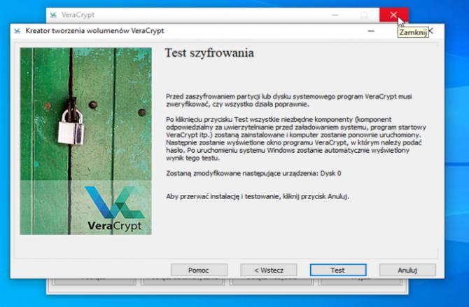 Szyfrowanie dysku z VeraCrypt: krok 15