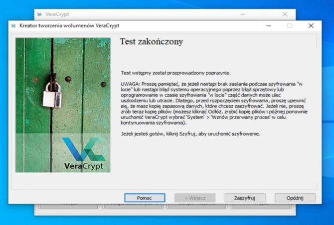Szyfrowanie dysku z VeraCrypt: krok 17