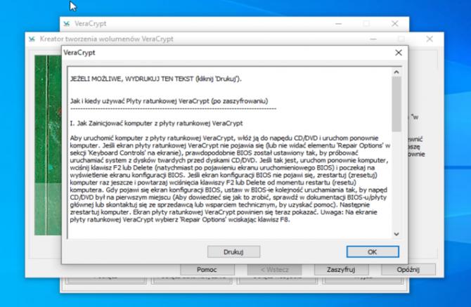 Szyfrowanie dysku z VeraCrypt: krok 18