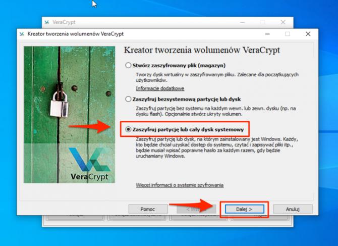 Szyfrowanie dysku z VeraCrypt: krok 3