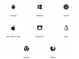 Android, Windows, macOS, iOS, Android TV, Linux, Chrome, Firefox
