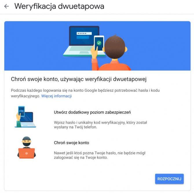 Weryfikacja dwuetapowa w Google