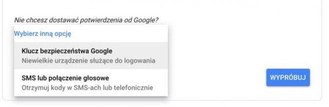 Wybór metody weryfikacji dwuetapowej w Google