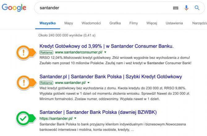 Reklamy w wyszukiwarce po wpisaniu nazwy banku